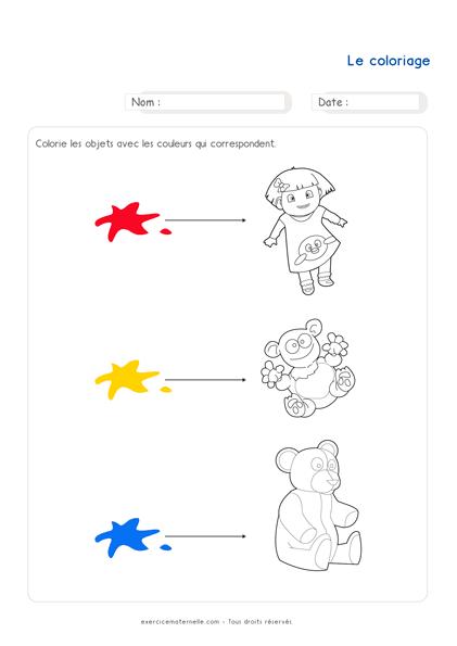 Exercice Maths PS à imprimer - le coloriage