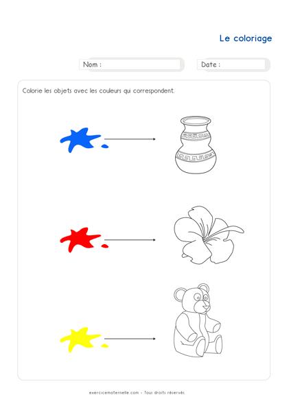Fiche Mathématique PS à imprimer - le coloriage