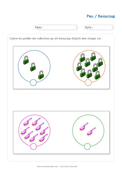 Exercice Maths PS à imprimer - Les quantités