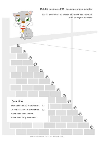 Exercice de Graphisme sur le point Petite Section - empreinte du chaton 1