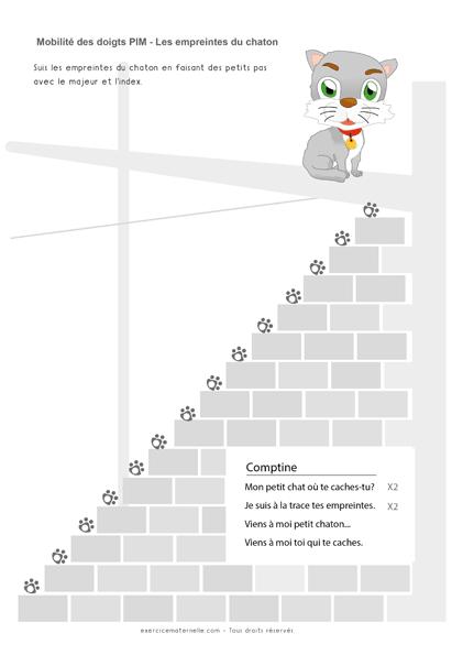 Exercice de Graphisme sur le point Petite Section - empreinte du chaton 2