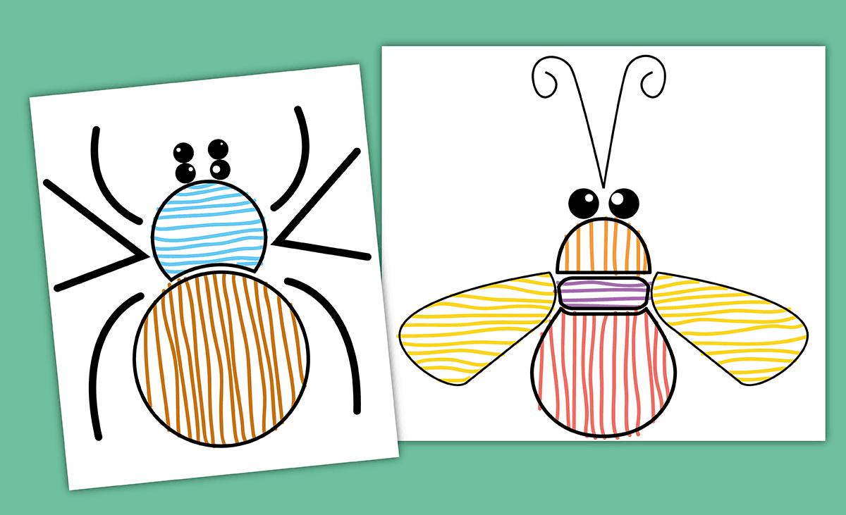 Graphisme PS Traits horizontaux et verticaux - Décorer les insectes