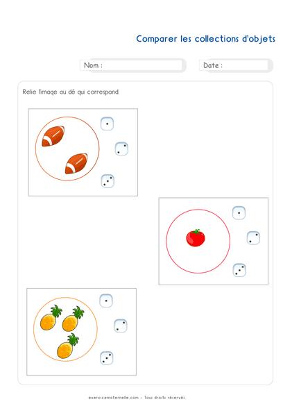 Exercice Maths PS à imprimer - Comparaison des quantités