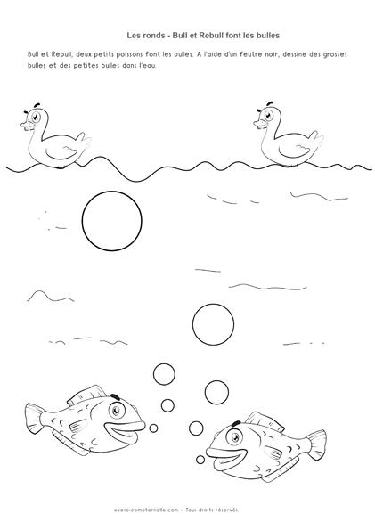 Graphisme Rond PS - Les poissons et les bulles