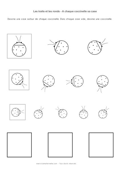 Séquence Graphisme PS Traits et Ronds - Les coccinelles et les cages