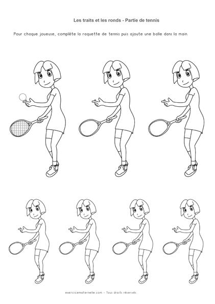 Séquence Graphisme PS Traits et Ronds - balles et les raquettes de tennis