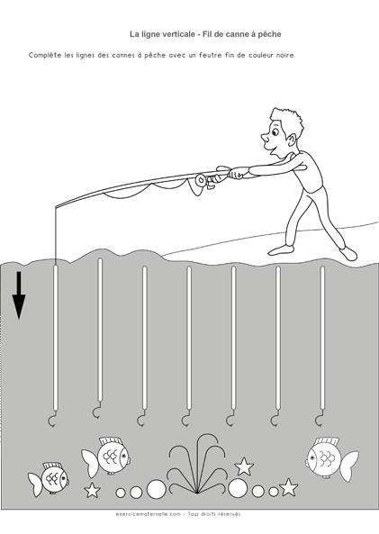 Graphisme Petite Section lignes verticales - Fils à pêche