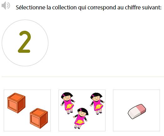 Jeux en ligne Maternelle - Représenter les nombres jusqu'à 3