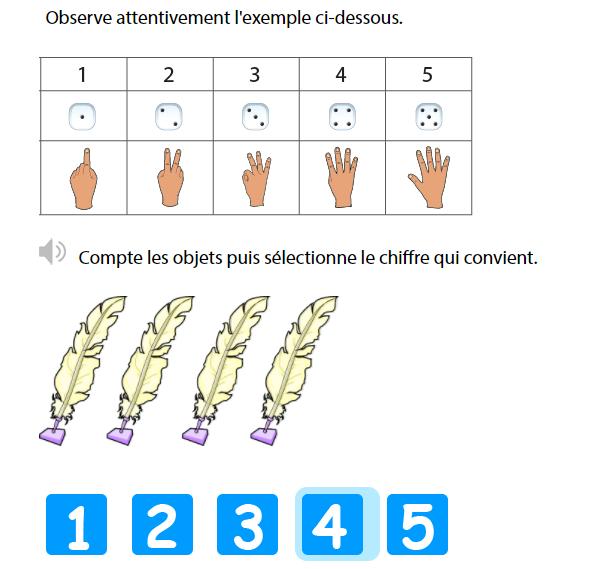 Apprendre à compter jusqu'à 5 - Suite des nombres de 1 à 5