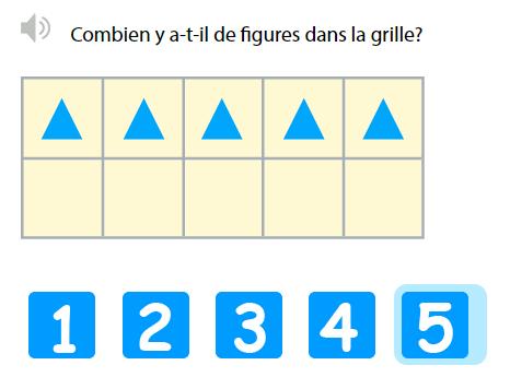 Dénombrer et compter jusqu'à 5 - Compter jusqu'à 5 dans une grille de 10 entrées