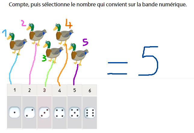 Apprendre à compter jusqu'à 6 avec la bande numérique