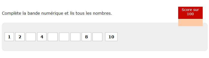 Les nombres de 0 à 10 - Compléter la bande numérique - Nombres jusqu'à 10