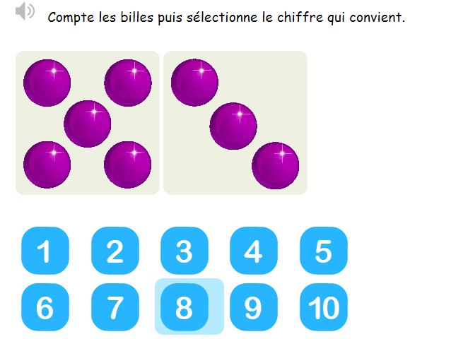 Les nombres de 0 à 10 - Compter les billes jusqu'à 10