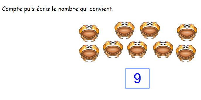 Compter et écrire les nombres en chiffres jusqu'à 10