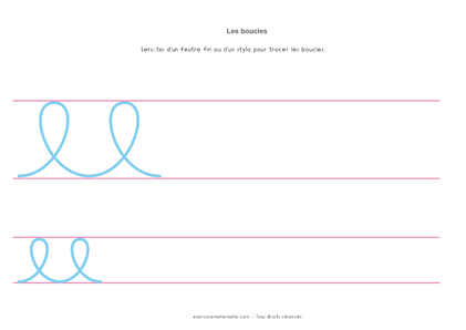 Fiche Graphisme boucles GS Maternelle à imprimer - tracer les boucles
