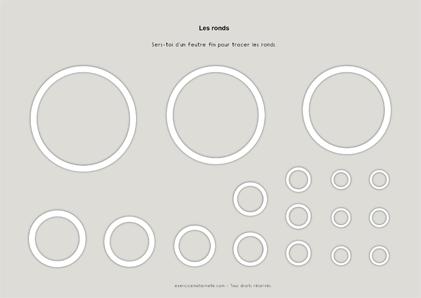 Tracer des ronds Maternelle Grande Section - fiche à plastifier
