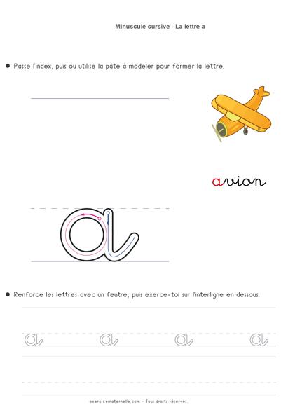 Écriture cursive Grande Section à imprimer - écrire la lettre a