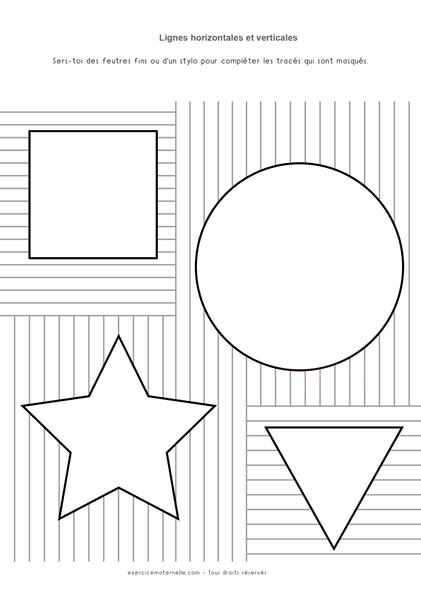 Traits verticaux et horizontaux GS - Compléter les formes géométrique