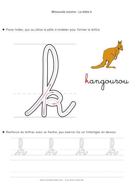 apprendre les lettres cursives - écrire la lettre k