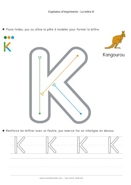 Écrire les lettres en capitales MS - la lettre k