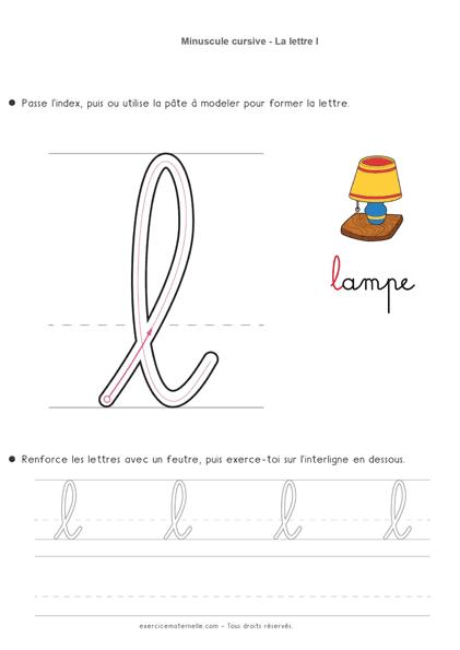 Écrire la cursive Maternelle Moyenne Section - la lettre minuscule l