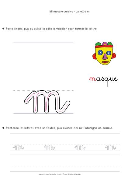 Écriture cursive Grande Section à imprimer - écrire la lettre m