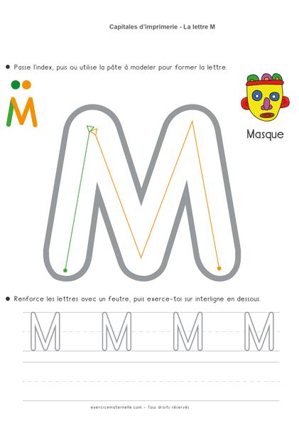 Écrire les lettres en capitales MS - la lettre m