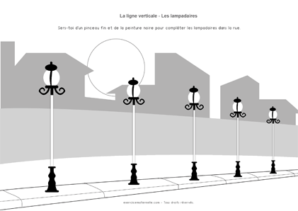Traits verticaux Grande Section - lampadaires