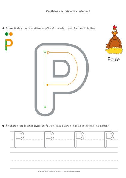Écriture Maternelle à imprimer - la lettre p