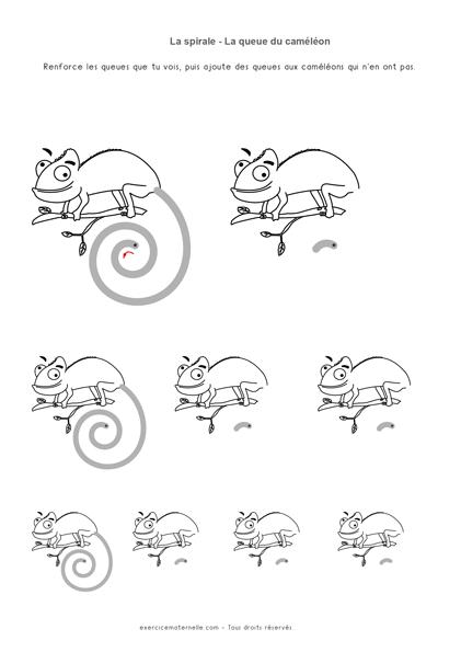 Graphisme Sens de la spirale Maternelle - la queue du caméléon