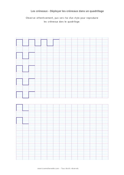 Séquence créneaux GS Maternelle - graphisme sur quadrillage
