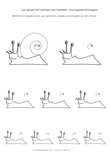 Graphisme Sens de la spirale Maternelle - escargots 02