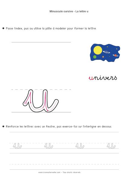 Écrire la cursive Maternelle Moyenne Section - la lettre minuscule u