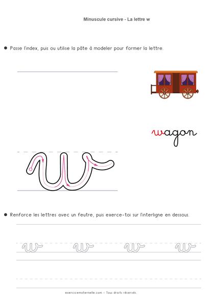 apprendre les lettres cursives - écrire la lettre w