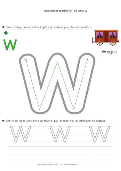 Écrire les lettres en capitales MS - la lettre w