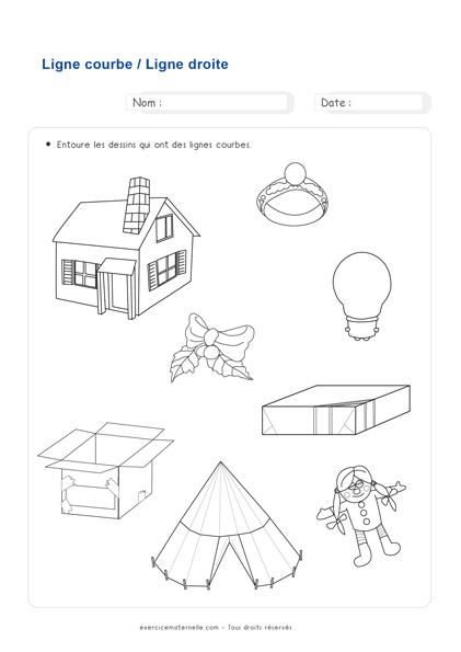 Fiche Maths Moyenne Section à imprimer - ligne courbe ou droite