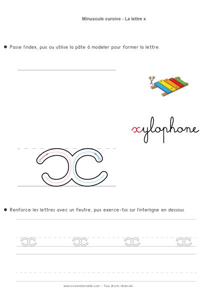 Fiche d'écriture GS - écrire la lettre x