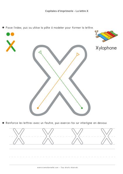 Écriture Maternelle à imprimer - la lettre x