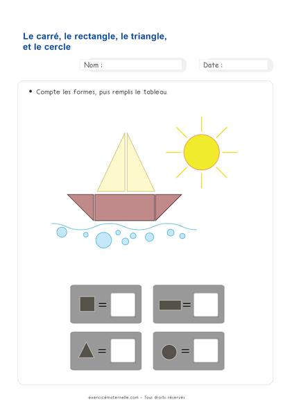 Fiche Maths Moyenne Section à imprimer - formes géométriques