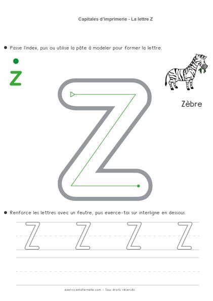 Écriture Maternelle à imprimer - la lettre z