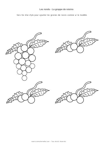 Tracer des ronds Maternelle Grande Section - les raisins
