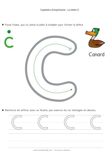 Écrire les lettres en capitales MS - la lettre c