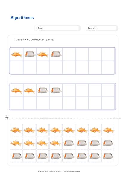 Maths GS Maternelle à imprimer - rythme algorithme