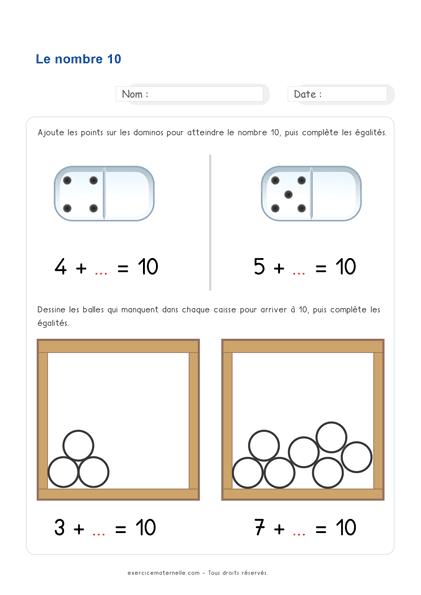 Fiche Maths GS Maternelle à imprimer - additions qui donnent 10