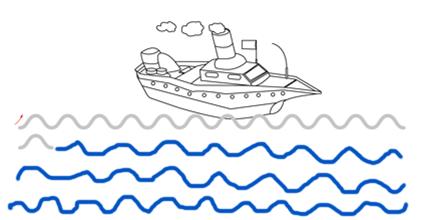 Les vagues Graphisme GS - le bâteau en mer