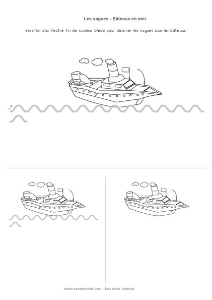 Exercice vague Maternelle - bateau en mer