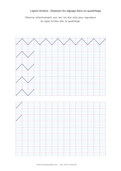 Graphisme Zig zag GS Maternelle - exercice sur feuille quadrillée