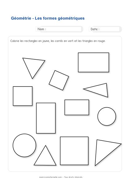 Exercices Mathématiques Grande Section - identifier les formes géométriques