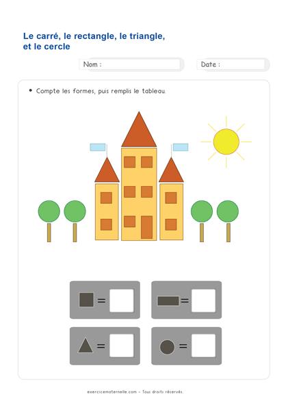 Maths GS Maternelle à imprimer - identifier et dénombrer les formes géométriques