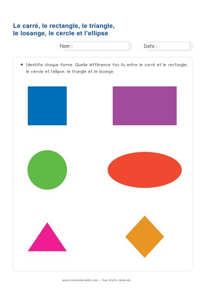 Fiche Maths GS Maternelle à imprimer - identifier puis comparer les formes géométriques
